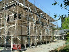 scaffolding for limestone exterior